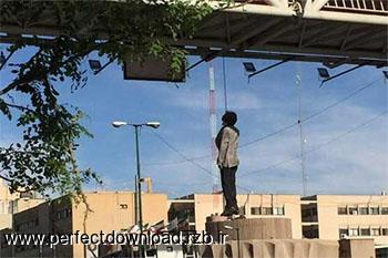 عکس دار زدن مردی در خیابان میرداماد + فیلم خودکشی